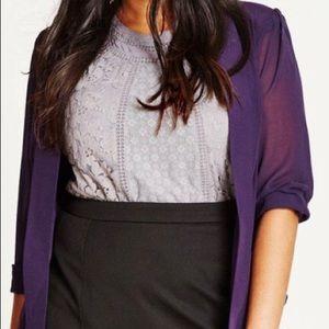 City Chic - NWT - Drapey Blazer Jacket Purple